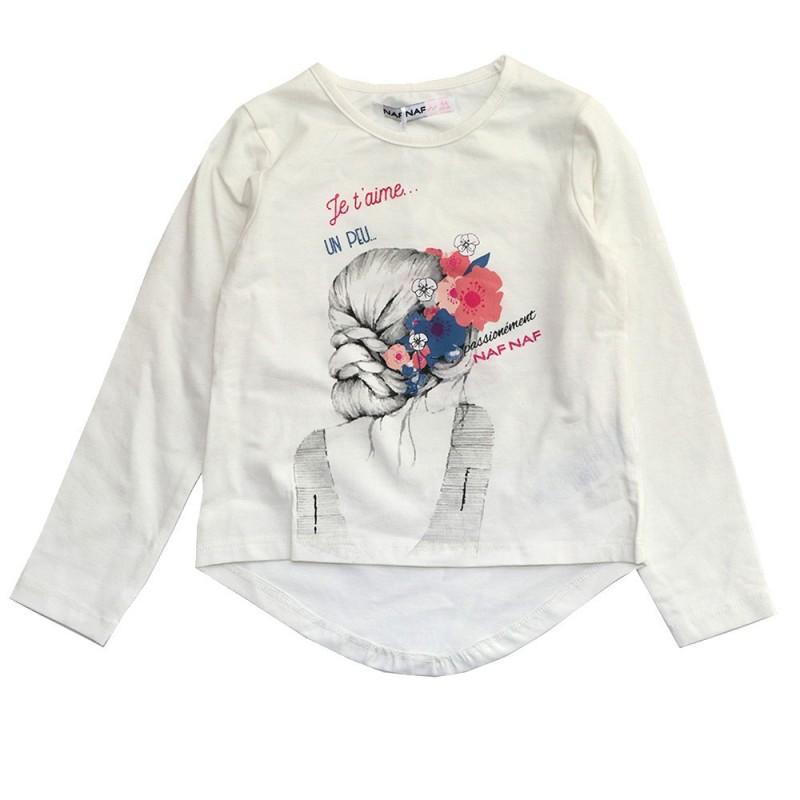 NAF NAF Μακρυμάνικο μπλουζάκι για κορίτσια (NNHS10720WHITE)