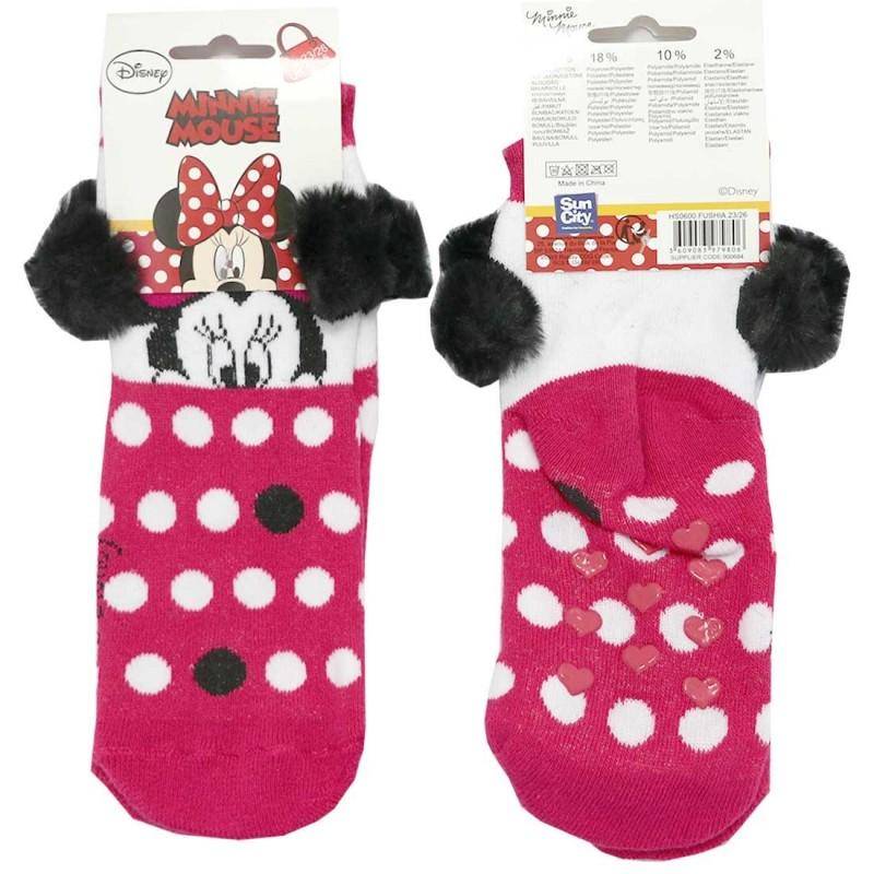 Disney Minnie Mouse Παιδικές Αντιολισθητικές Κάλτσες πετσετέ με pompon (HS0600F)