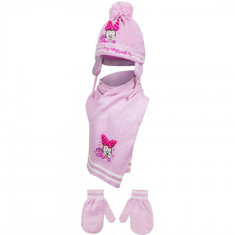 Disney Minnie Mouse Βρεφικό Χειμωνιάτικο Σετ Σκουφάκι, κασκόλ, γάντια (HO4435)