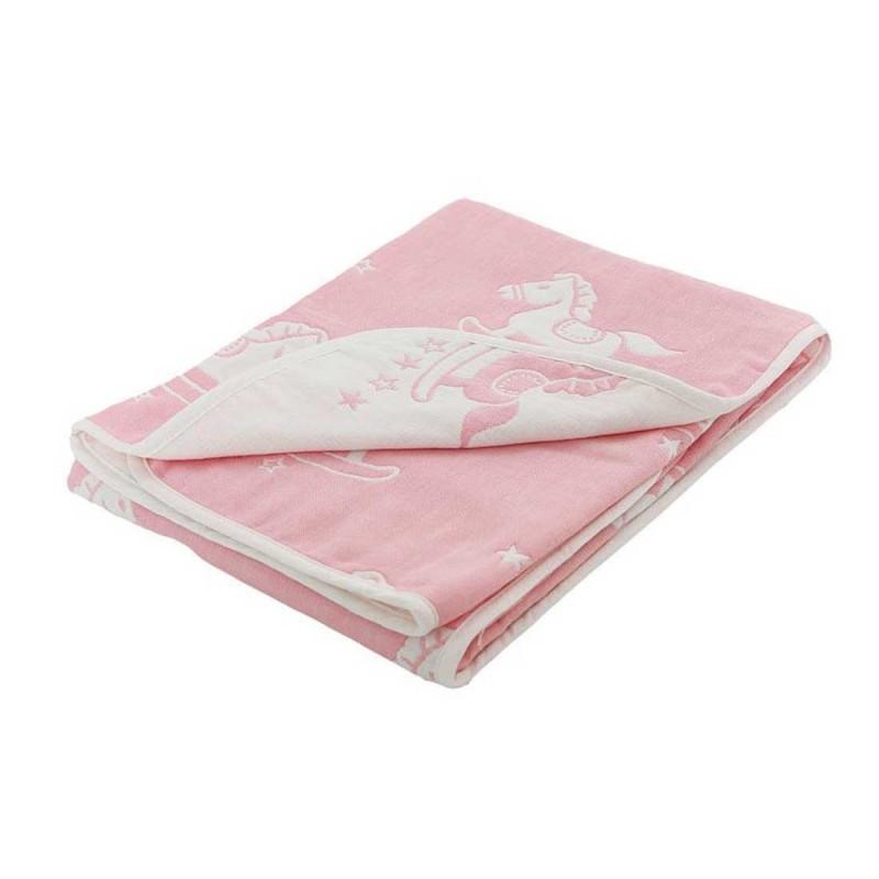 Soft Touch Βρεφική Βαμβακερή κουβέρτα διπλής όψης Pink Rocking Horse 78x80εκ. (FBP214P)