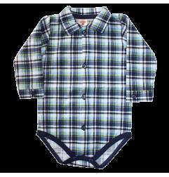 Βρεφικό βαμβακερό μακρυμάνικο ζιπουνάκι - πουκαμισάκι (0304Gblue)